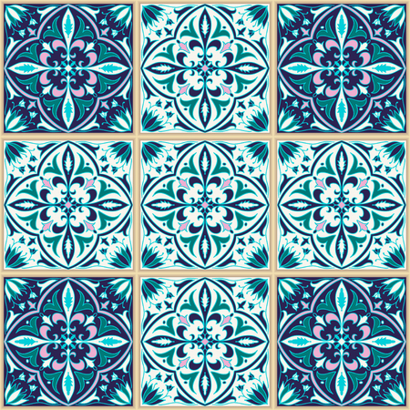 talavera: Vector seamless texture. Beautiful colored pattern for design and fashion with decorative elements. Portuguese tiles, Azulejo, Talavera, Moroccan ornaments in blue colors