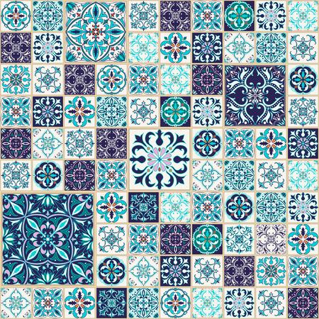 벡터 원활한 텍스처입니다. 아름 다운 패치 워크 패턴 디자인과 패션 장식 요소. 포르투갈어 타일, Azulejo, Talavera, 파랑 및 오렌지 색상의 모로코 장식품 일러스트