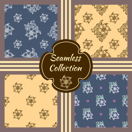 Set of vector seamless textures. Collection of patterns with hand drawn floral elements. Romantic theme for 8 march international women's day. Vintage design