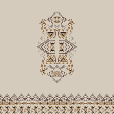 fashion design: Vector tribal decorative pattern with border for design and fashion. Aztec ornamental style. Ethnic native american indian ornaments