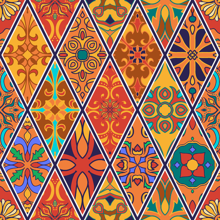 Beautiful patchwork pattern for design and fashion with decorative elements in rhombus Illustration