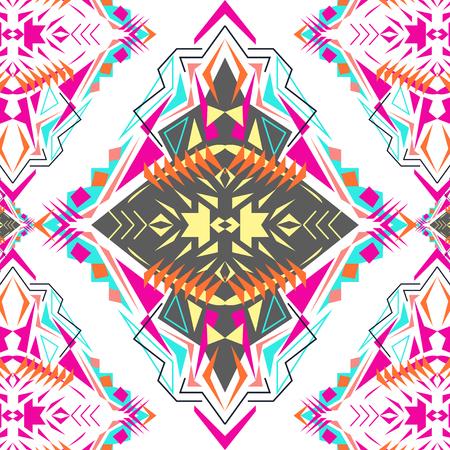 Tribal geometric pattern. Electro boho color trend. Aztec ornamental style. Illustration