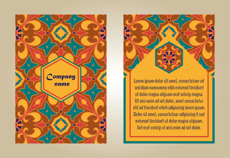 talavera: set of colorful brochure templates for business and invitation. Portuguese, Talavera, Moroccan; Arabic; asian ornaments. Geometric and floral motifs.