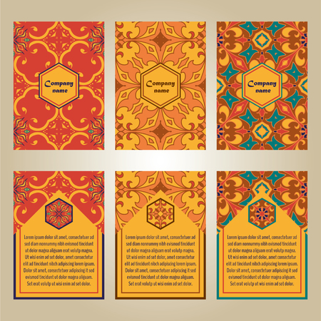 talavera: set of colorful brochure templates for business and invitation. Portuguese, Talavera, Moroccan; Arabic; asian ornaments. Geometric and floral motifs. A4 format Illustration