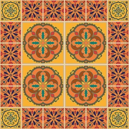 talavera: seamless texture. Beautiful colored pattern for design and fashion with decorative elements. Portuguese tiles, Arabic, Talavera, Moroccan ornaments Illustration