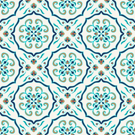 talavera: seamless texture. Beautiful colored pattern for design and fashion with decorative elements. Portuguese tiles, Azulejo, Talavera, Moroccan ornaments Illustration
