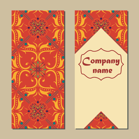 talavera: set of colorful vertical banners for business and invitation. Portuguese, Talavera, Moroccan; Arabic; asian ornaments. Geometric and floral motifs Illustration