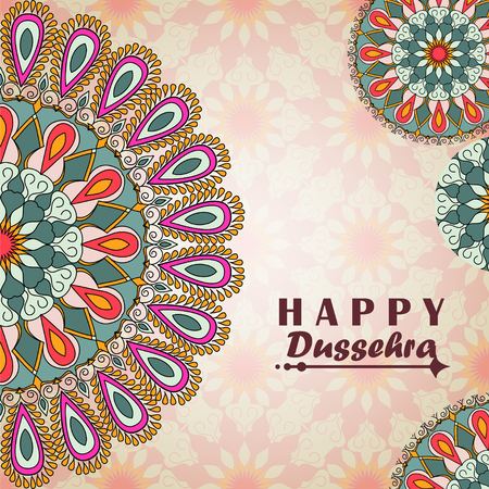 ramayan: greeting card to indian festival Vijayadashami. Happy Dussehra. Congratulations background with text and mandalas patterns