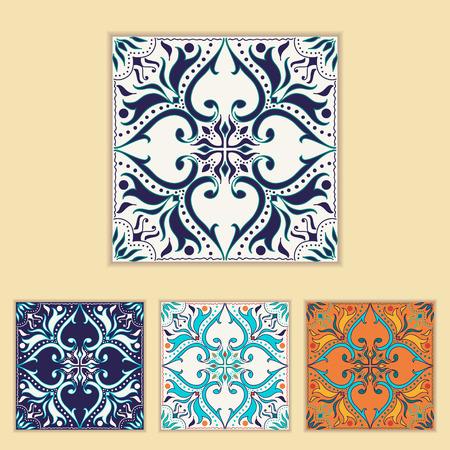 talavera: Portuguese tile design in four different color. Beautiful colored pattern for design and fashion with decorative elements. Portuguese, Azulejo, Talavera, Moroccan ornaments in blue and orange colors