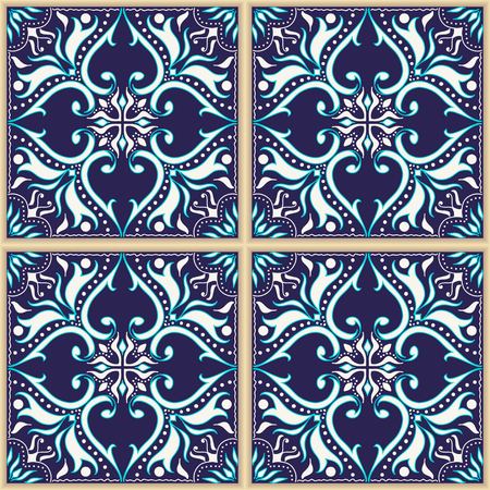 talavera: seamless texture. Beautiful colored pattern for design and fashion with decorative elements. Portuguese tiles, Azulejo, Talavera, Moroccan ornaments in blue colors Illustration