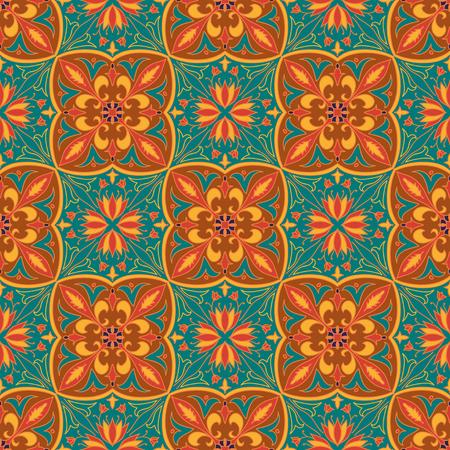 talavera: Beautiful colored pattern for design and fashion with decorative elements. Portuguese tiles, Azulejo, Talavera, Moroccan ornaments in orange colors Illustration