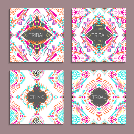 ethno: set of geometric colorful backgrounds. Card templates for business and invitation. Ethnic, tribal, aztec style. Modern ethno ikat pattern Illustration