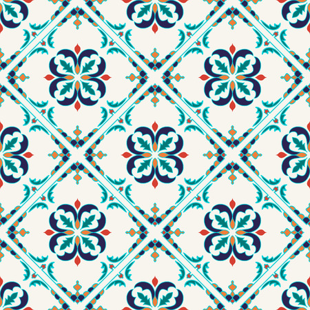 seamless texture. Beautiful colored pattern for design and fashion with decorative elements. Portuguese tiles, Azulejo, Moroccan ornaments