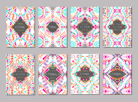 ethno: set of geometric colorful brochure templates for business and invitation. Ethnic, tribal, aztec style. A4 format. Modern ethno ikat pattern