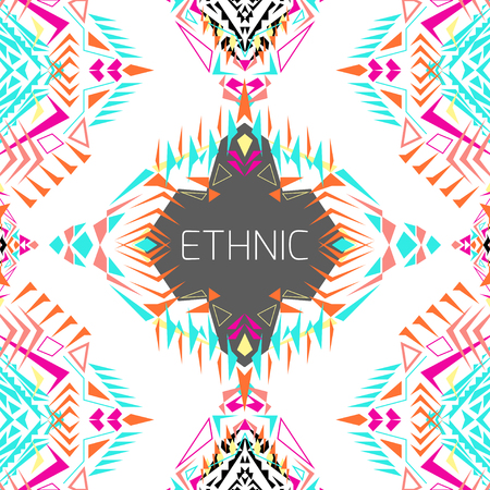 ethno: geometric colorful background. Card template for business and invitation. Ethnic, tribal, aztec style. Modern ethno ikat pattern