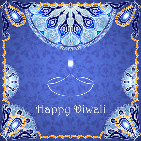 greeting card to indian festival of lights. Happy Diwali. Congratulations background with text and mandalas patterns