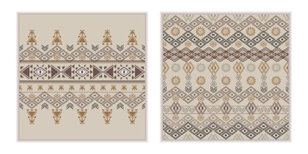 Vector set of two seamless patterns. Ethnic tribal geometric texture. Aztec ornamental style. Native american indian ornamental backgrounds Иллюстрация