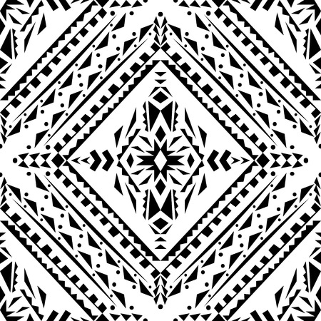 Vector seamless texture. Black and white tribal geometric pattern. Aztec ornamental style. Ethnic native american indian ornaments
