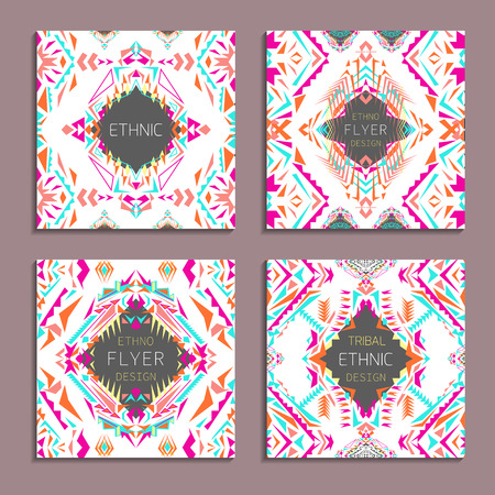ethno: Vector set of geometric colorful backgrounds. Card templates for business and invitation. Ethnic, tribal, aztec style. Modern ethno ikat pattern
