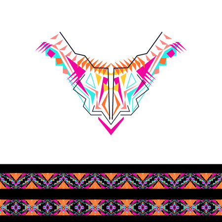 style: Vector neckline and borders design for fashion. Ethnic tribal neck print. Chest embellishment in boho style. Aztec ornaments
