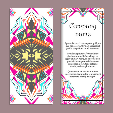 Vector set of colorful vertical banners for business and invitation. Ethnic tribal ornaments. Boho style. Geometric triangle motifs