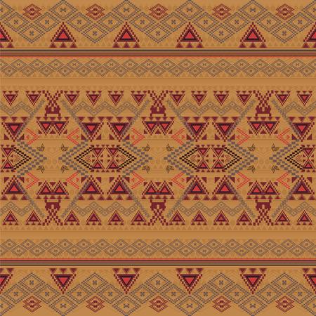 Vector seamless texture. Ethnic tribal geometric pattern. Aztec ornamental style. Ethnic native american indian ornaments Иллюстрация