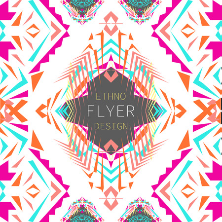 Vector geometric colorful background. Card templates for business and invitation. Ethnic, tribal, aztec style. Modern ethno ikat pattern