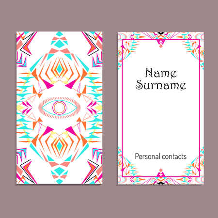 Vector business card template. Ethnic tribal ornaments. Boho style. Geometric triangle motifs