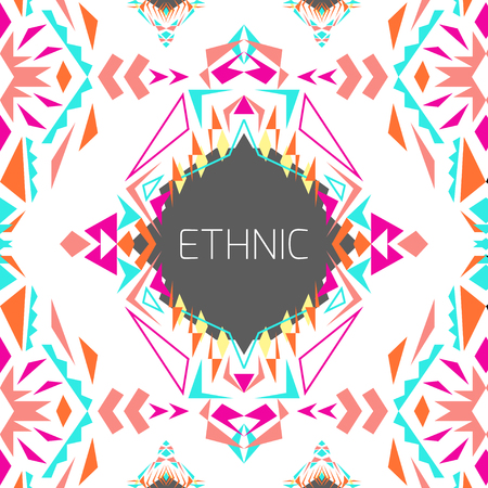 ethno: Vector geometric colorful background. Card templates for business and invitation. Ethnic, tribal, aztec style. Modern ethno ikat pattern