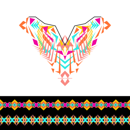 fashion design: Vector neckline and borders design for fashion. Ethnic tribal neck print. Chest embellishment in boho style. Aztec ornaments