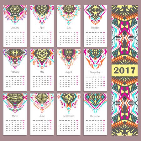 Vector calendar 2017. Ethnic tribal ornaments. Boho style. Geometric triangle motifs