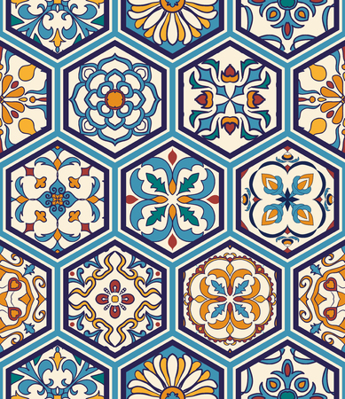 azulejo: Vector seamless texture. Beautiful mega patchwork pattern for design and fashion with decorative elements in hexagon. Portuguese tiles, Azulejo, Moroccan ornaments Illustration