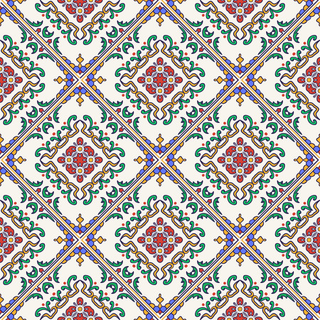 azulejos: Vector seamless texture. Beautiful colored pattern for design and fashion with decorative elements. Portuguese tiles, Azulejo, Moroccan ornaments