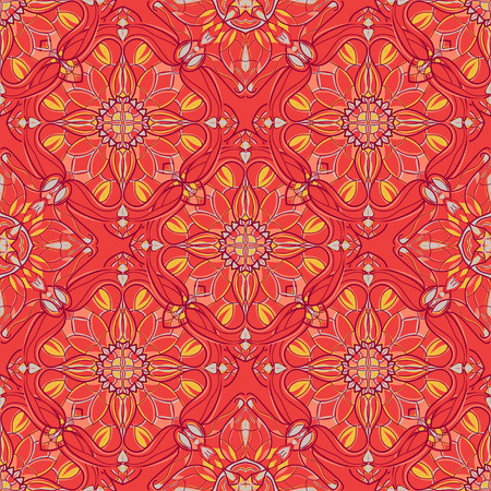 Vector seamless texture. Beautiful colored pattern for design and fashion with decorative elements. Ethnic oriental motifs Illustration