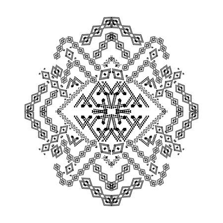 Motif décoratif tribal noir et blanc de vecteur pour la conception. Style ornemental aztèque. Ornement indien amérindien ethnique Banque d'images - 67382295