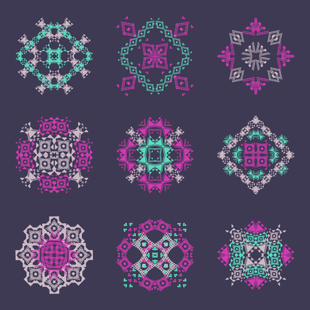 Vector set of tribal colored decorative patterns for design. Aztec ornamental style. Ethnic native american indian ornaments