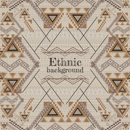 etnia: diseño del vector del fondo. patrón geométrico tribal étnica. estilo ornamental azteca. Adornos étnicos indios nativos americanos. Plantilla con lugar para el texto Vectores