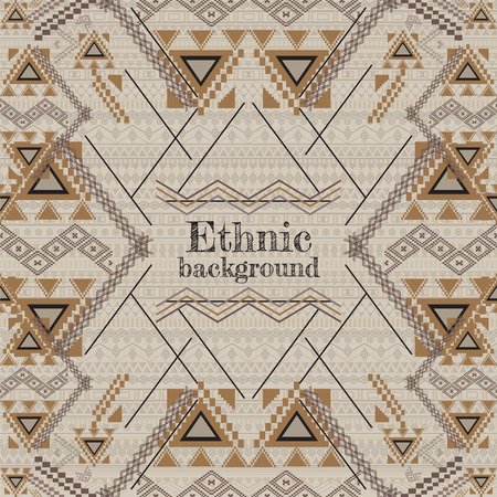 etnia: Vector background design. Ethnic tribal geometric pattern. Aztec ornamental style. Ethnic native american indian ornaments. Template with place for text