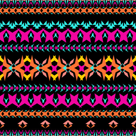 Vector seamless texture. Tribal geometric striped pattern. Aztec ornamental style. Ethnic native american indian ornaments Illustration