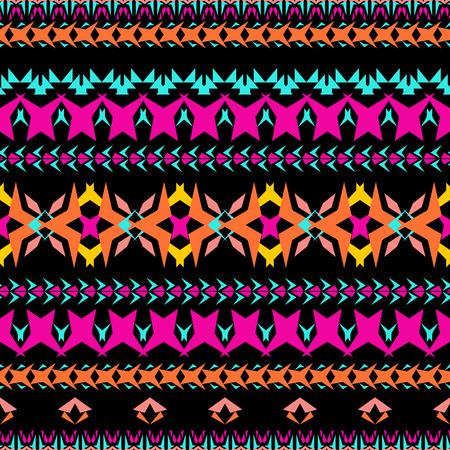 Vector seamless texture. Tribal geometric striped pattern. Aztec ornamental style. Ethnic native american indian ornaments Иллюстрация