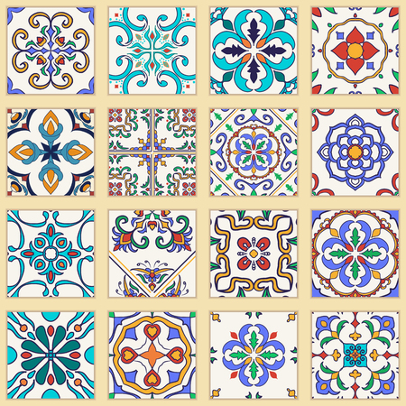 Vector Set Of Portuguese Tiles Collection Of Colored Patterns Awesome Spanish Patterns