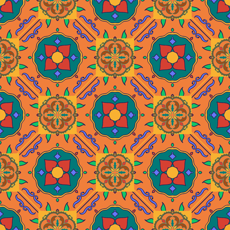 Vector seamless texture. Beautiful colored pattern for design and fashion with decorative elements. Portuguese tiles, Spanish, Moroccan ornaments