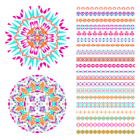Vector set of geometric borders and mandalas in ethnic boho style. Collection of pattern brushes inside. Aztec tribal ornaments