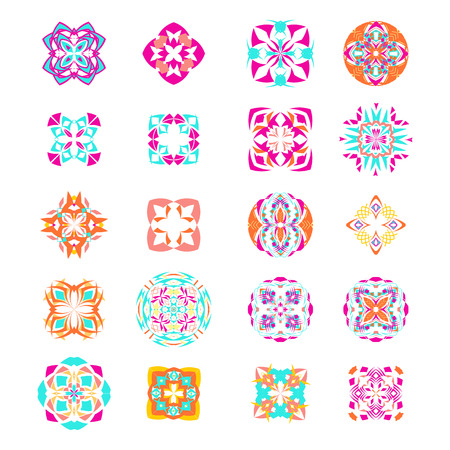 Vector set of geometric mandalas in ethnic boho style. Collection of decorative elements. Aztec tribal ornaments