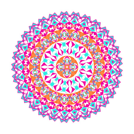 Vector colorful mosaic mandala. Beautiful design element in ethnic style. Indian, tribal, oriental ornament. Geometric and floral motives