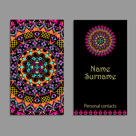 Vector business card template. Ethnic tribal ornaments. Mandala patterns. Boho style. Geometric and floral motifs Ilustrace