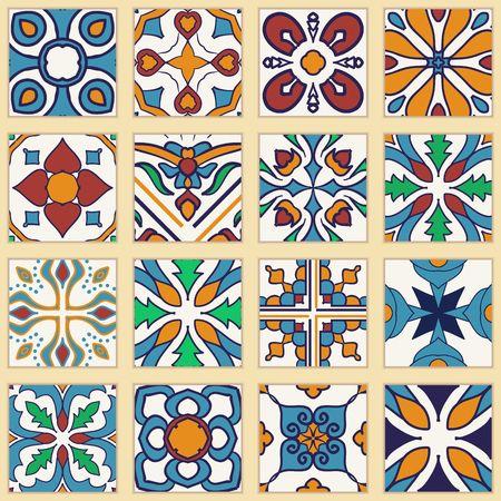 ceramic tiles: Vector set of Portuguese tiles. Collection of colored patterns for design and fashion. Azulejo, Spanish, Moroccan ornaments