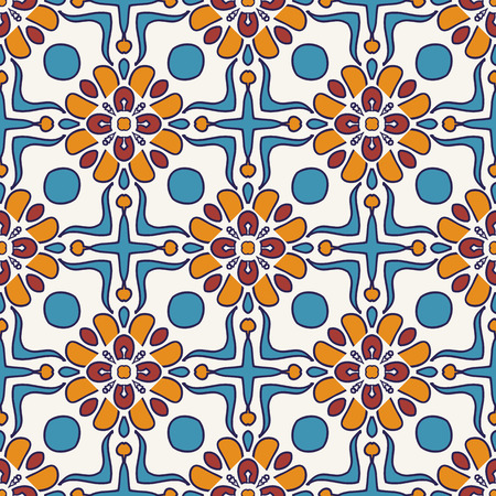 azulejo: Vector seamless texture. Beautiful colored pattern for design and fashion with decorative elements. Portuguese tiles, Azulejo, Moroccan ornaments