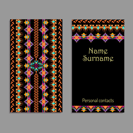 Vector business card template. Ethnic tribal ornaments. Boho style. Geometric striped motifs