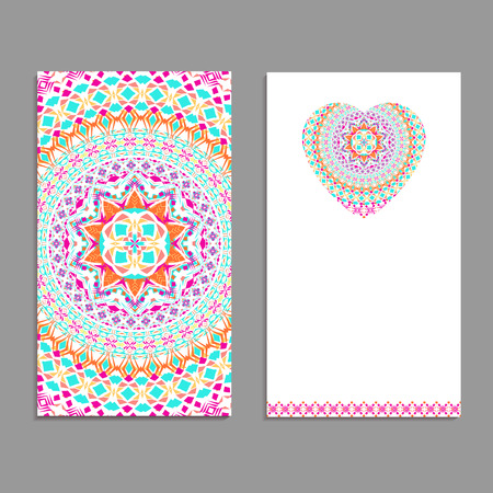 Vector greeting card template to valentine's day. Congratulation's backgrounds with heart, place for text and mandalas patterns
